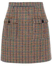 Claudie Pierlot Houndstooth Tweed Mini Skirt - Natural