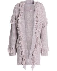 Rebecca Minkoff - Fringed Ribbed-knit Cardigan Antique Rose - Lyst