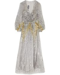 Monique Lhuillier Sequined Tulle Gown Silver - Metallic