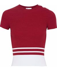 RED Valentino Two-tone Ribbed-knit Top Red