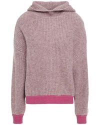 NAADAM Mélange Ribbed-knit Hoodie - Purple