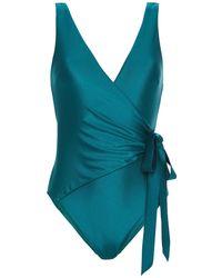 Zimmermann Wrap-effect Swimsuit - Green