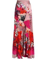 Roberto Cavalli - Ruffled Floral-print Silk-satin Maxi Skirt - Lyst