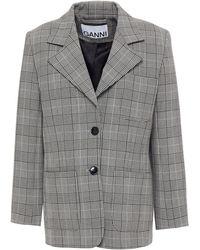 Ganni Prince Of Wales Checked Woven Blazer - Black