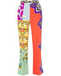 Etro Patchwork-effect Printed Silk Crepe De Chine Bootcut Trousers Magenta - Multicolour