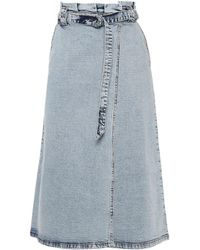 Gestuz Atica Belted Denim Midi Wrap Skirt Light Denim - Blue