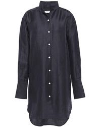 FRAME Clean Linen-blend Mini Shirt Dress Navy - Blue