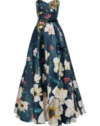 Marchesa notte Floral Bead Embroidered Corset Gown - Blue