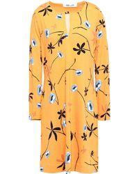 Diane von Furstenberg Reina Printed Stretch-jersey Mini Dress Marigold - Yellow