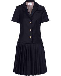 Thom Browne Paneled Pleated Wool-twill Shirt Dress Navy - Blue