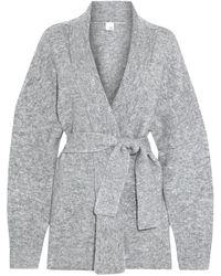 Iris & Ink Katla Belted Brushed Knitted Cardigan - Grey