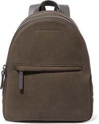 Brunello Cucinelli - Leather-trimmed Bead-embellished Suede Backpack - Lyst
