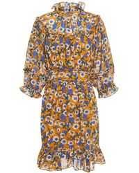 Walter Baker Eisa Ruffle-trimmed Floral-print Chiffon Mini Dress - Brown