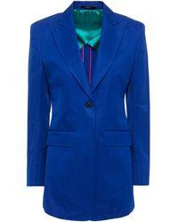 Paul Smith Cotton And Ramie-blend Blazer Cobalt Blue