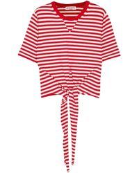 Sonia Rykiel - Tie-front Striped Cotton-blend Jersey T-shirt - Lyst