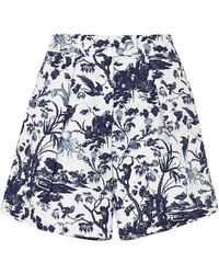 Erdem Howard Printed Cotton-twill Shorts - White