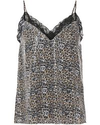 Olivia Rubin Flora Lace-trimmed Sequined Leopard-print Georgette Camisole Animal Print - Black