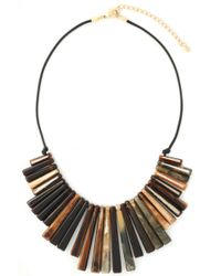 Kenneth Jay Lane - Gold-tone, Tortoiseshell Resin And Braided Leather Necklace - Lyst