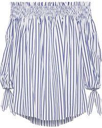 Caroline Constas Lou Off-the-shoulder Striped Cotton-poplin Blouse Navy - Blue