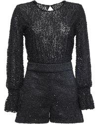 Maje Sequin-embellished Lace Playsuit Black