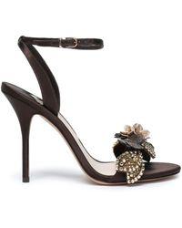 Sophia Webster Lilico Floral-appliquéd Satin Sandals Chocolate - Brown