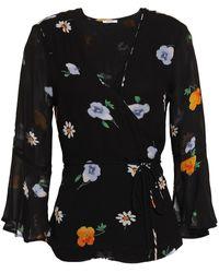 Ganni Floral-print Georgette Wrap Top - Black