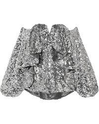 Halpern Off-the-shoulder Ruffled Sequined Tulle Top - Metallic