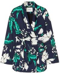 Erdem Stanford Floral-print Satin-twill Jacket - Blue