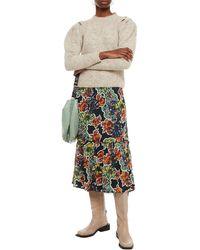 Gestuz Ruffled Floral-print Crepe Midi Skirt - Black