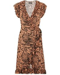 De La Vali Cadaques Ruffled Animal-print Crepe De Chine Wrap Dress Animal Print - Brown