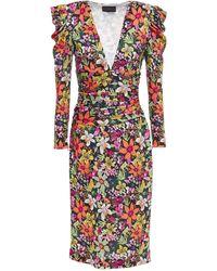 Dundas Ruched Floral-print Stretch-jersey Midi Dress - Black