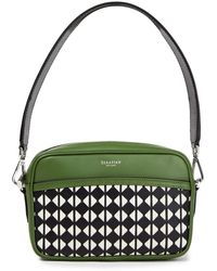 Serapian Mosaico Leather Shoulder Bag Leaf Green