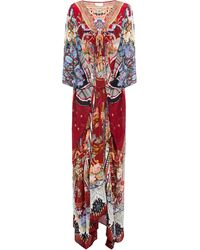 Camilla Tie-front Embellished Printed Silk Crepe De Chine Kaftan Crimson - Red