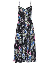 MILLY Emily Button-detailed Floral-print Silk-chiffon Slip Dress Black
