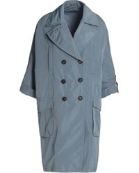 Brunello Cucinelli - Double-breasted Shell Trench Coat - Lyst