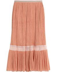 Vionnet - Lace-trimmed Plissé Silk-georgette Midi Skirt - Lyst