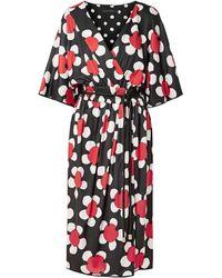 Marc Jacobs Wrap-effect Floral-print Jersey Midi Dress Black