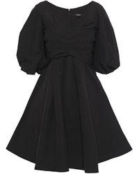 Goen.J Flared Pleated Cotton-blend Poplin Mini Dress Black