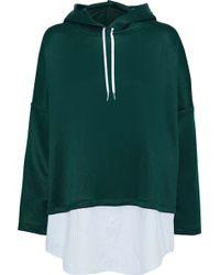 Sandro Woman Bastien Striped Poplin-paneled Satin-jersey Hoodie Emerald - Green