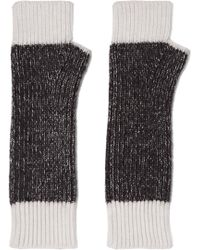 Duffy - Two-tone Merino Wool-blend Fingerless Gloves - Lyst