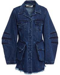 Marques'Almeida Frayed Denim Jacket Dark Denim - Blue