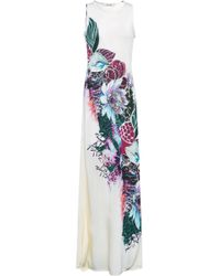 Roberto Cavalli Printed Knitted Maxi Dress Ivory - White