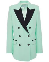 Racil Double-breasted Two-tone Wool-crepe Blazer - Green