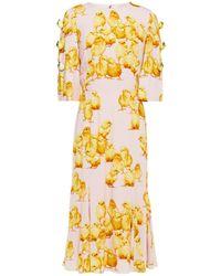 Dolce & Gabbana Embellished Printed Stretch-crepe Midi Dress Pastel Pink