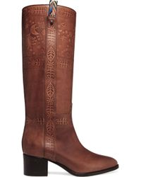 Valentino | Embossed Leather Knee Boots | Lyst