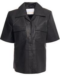 REMAIN Birger Christensen Siena Leather Shirt - Black