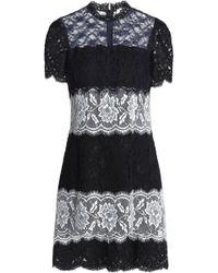 Sandro - Woman Panelled Lace Mini Dress Black - Lyst