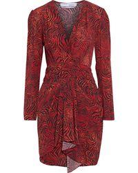 IRO Maitri Wrap-effect Zebra-print Crepe De Chine Mini Dress - Red