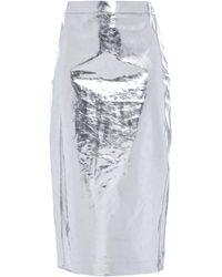 McQ Metallic Crinkled-vinyl Midi Pencil Skirt Silver
