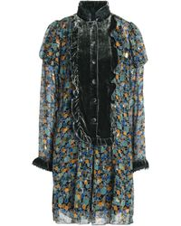 Anna Sui - Velvet-trimmed Printed Silk-blend Fil Coupé Top - Lyst